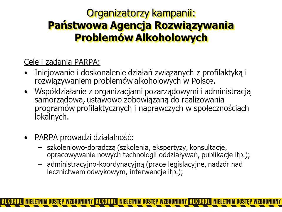 Cele i zadania PARPA: Inicjowanie i doskonalenie działań związanych z profilaktyką i rozwiązywaniem problemów alkoholowych w Polsce.