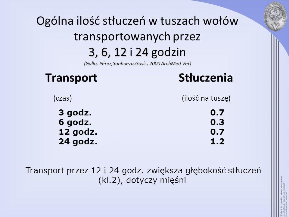 3,6,1224 (Gallo,Pérez,Sanhueza,Gasic,2000ArchMedVet) Ogólna ilość stłuczeń w tuszach wołów transportowanych przez 3, 6, 12 i 24 godzin (Gallo, Pérez,S