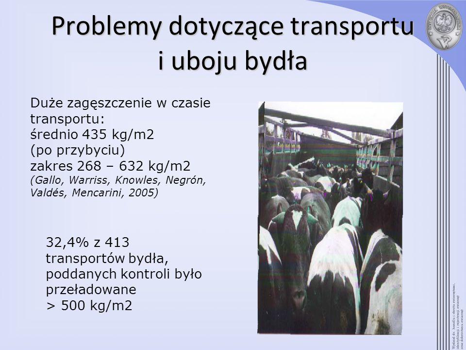 Problemy dotyczące transportu i uboju bydła Duże zagęszczenie w czasie transportu: średnio 435 kg/m2 (po przybyciu) zakres 268 – 632 kg/m2 (Gallo, War