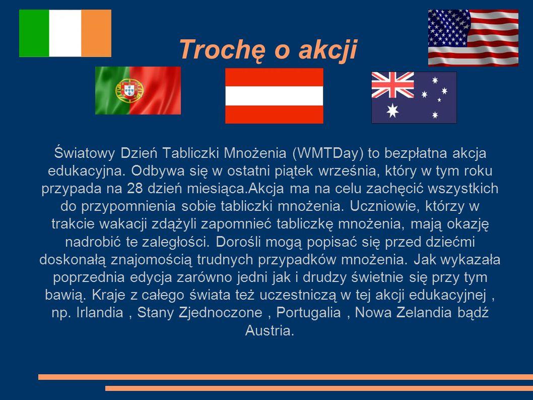 Trochę o akcji Światowy Dzień Tabliczki Mnożenia (WMTDay) to bezpłatna akcja edukacyjna. Odbywa się w ostatni piątek września, który w tym roku przypa