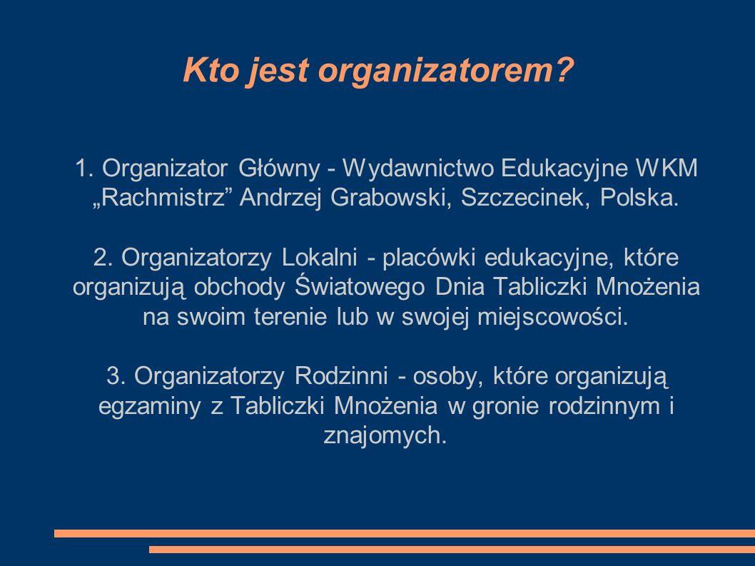 Kto jest organizatorem? 1. Organizator Główny - Wydawnictwo Edukacyjne WKM Rachmistrz Andrzej Grabowski, Szczecinek, Polska. 2. Organizatorzy Lokalni