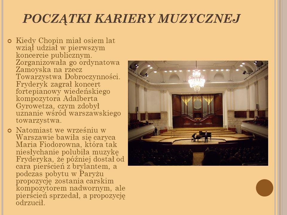 POCZĄTKI KARIERY MUZYCZNEJ Kiedy Chopin miał osiem lat wziął udział w pierwszym koncercie publicznym.