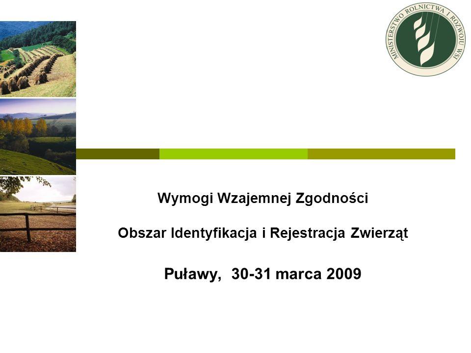 Wymogi Wzajemnej Zgodności Obszar Identyfikacja i Rejestracja Zwierząt Puławy, 30-31 marca 2009