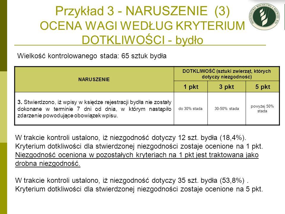 Przykład 3 - NARUSZENIE (3) OCENA WAGI WEDŁUG KRYTERIUM DOTKLIWOŚCI - bydło Wielkość kontrolowanego stada: 65 sztuk bydła NARUSZENIE DOTKLIWOŚĆ (sztuk