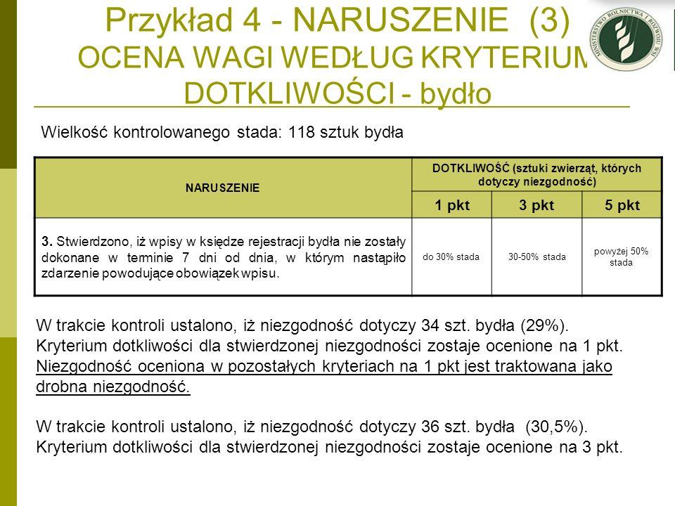 Przykład 4 - NARUSZENIE (3) OCENA WAGI WEDŁUG KRYTERIUM DOTKLIWOŚCI - bydło Wielkość kontrolowanego stada: 118 sztuk bydła NARUSZENIE DOTKLIWOŚĆ (sztu