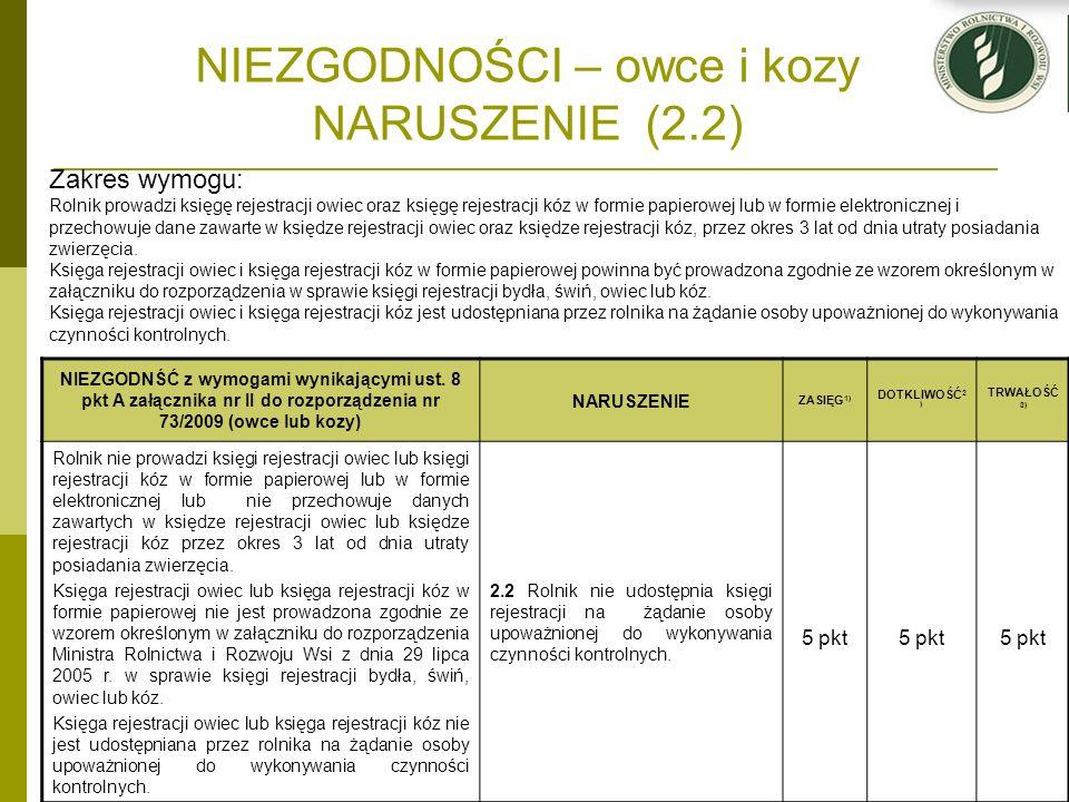 NIEZGODNOŚCI – owce i kozy NARUSZENIE (2.2) NIEZGODNŚĆ z wymogami wynikającymi ust. 8 pkt A załącznika nr II do rozporządzenia nr 73/2009 (owce lub ko