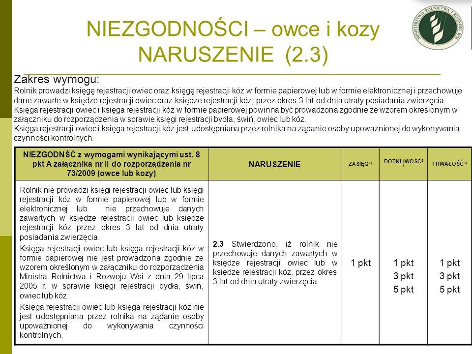 NIEZGODNOŚCI – owce i kozy NARUSZENIE (2.3) NIEZGODNŚĆ z wymogami wynikającymi ust. 8 pkt A załącznika nr II do rozporządzenia nr 73/2009 (owce lub ko