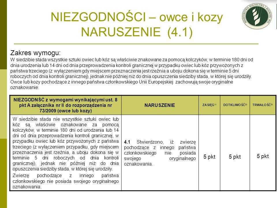 NIEZGODNOŚCI – owce i kozy NARUSZENIE (4.1) NIEZGODNŚĆ z wymogami wynikającymi ust. 8 pkt A załącznika nr II do rozporządzenia nr 73/2009 (owce lub ko
