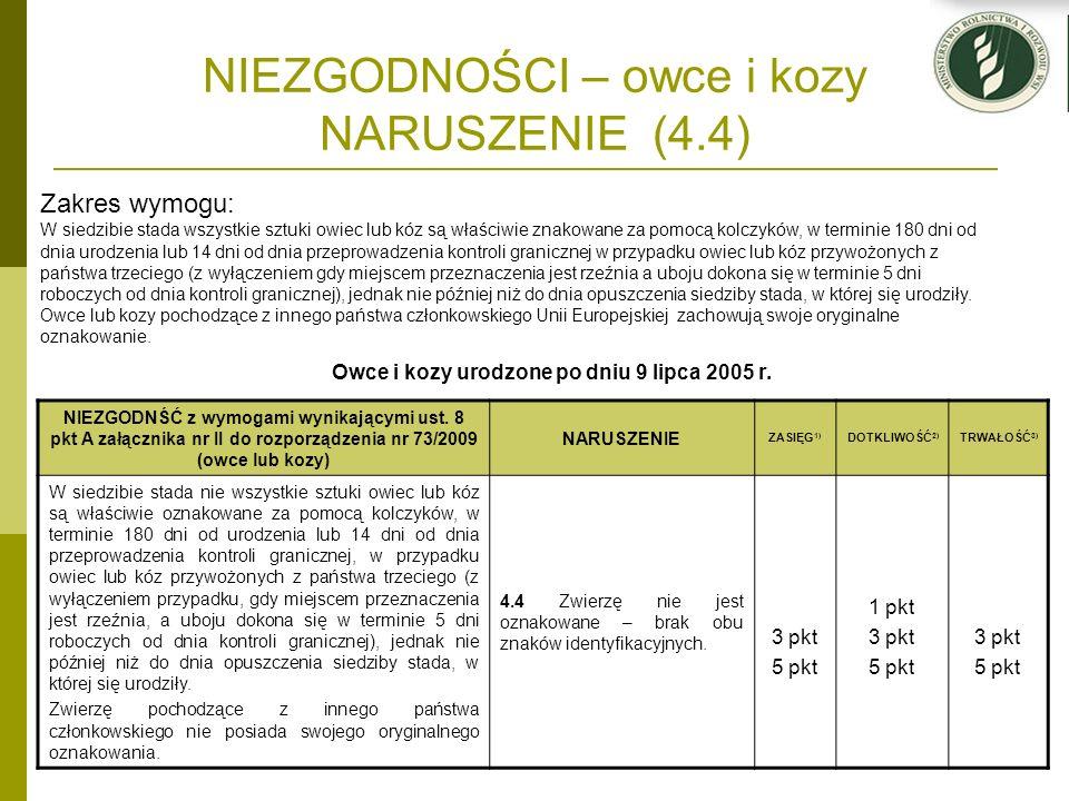 NIEZGODNOŚCI – owce i kozy NARUSZENIE (4.4) Owce i kozy urodzone po dniu 9 lipca 2005 r. NIEZGODNŚĆ z wymogami wynikającymi ust. 8 pkt A załącznika nr