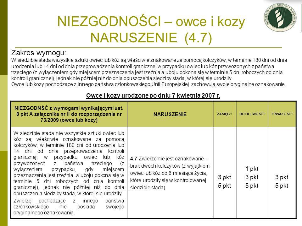 NIEZGODNOŚCI – owce i kozy NARUSZENIE (4.7) Owce i kozy urodzone po dniu 7 kwietnia 2007 r. NIEZGODNŚĆ z wymogami wynikającymi ust. 8 pkt A załącznika