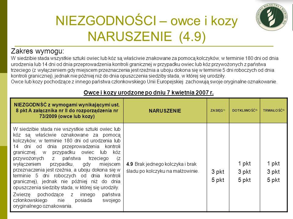 NIEZGODNOŚCI – owce i kozy NARUSZENIE (4.9) Owce i kozy urodzone po dniu 7 kwietnia 2007 r. NIEZGODNŚĆ z wymogami wynikającymi ust. 8 pkt A załącznika