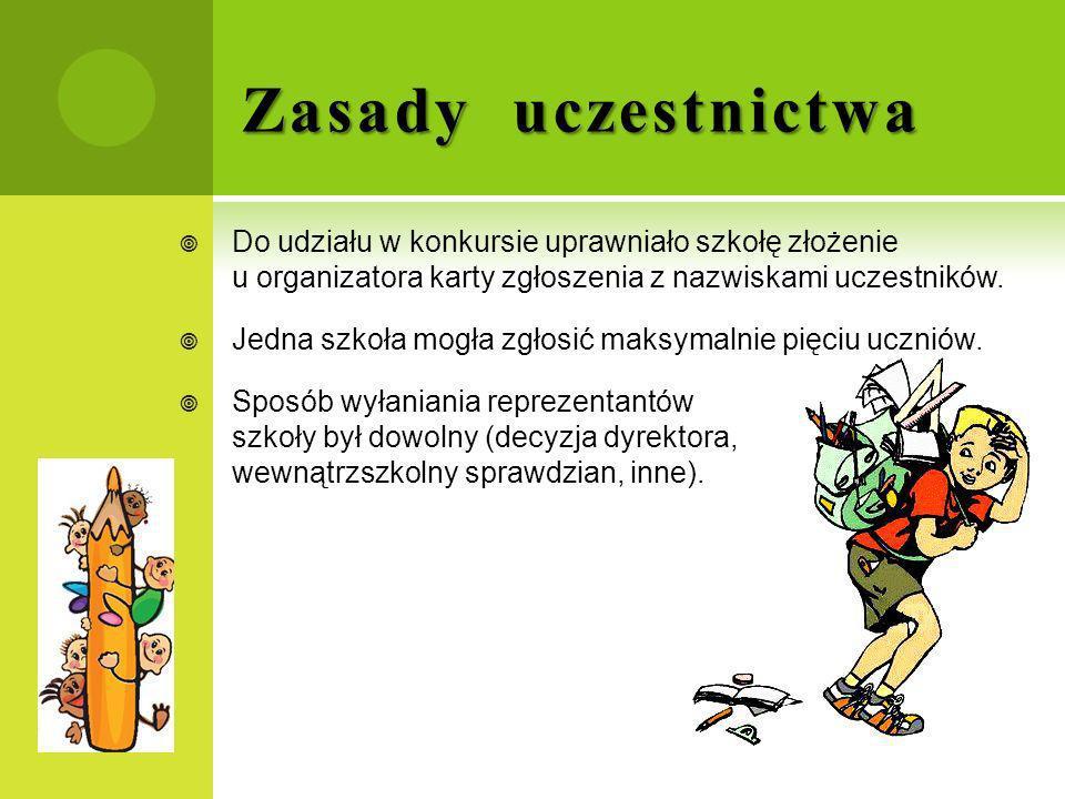 Zasady uczestnictwa Do udziału w konkursie uprawniało szkołę złożenie u organizatora karty zgłoszenia z nazwiskami uczestników. Jedna szkoła mogła zgł