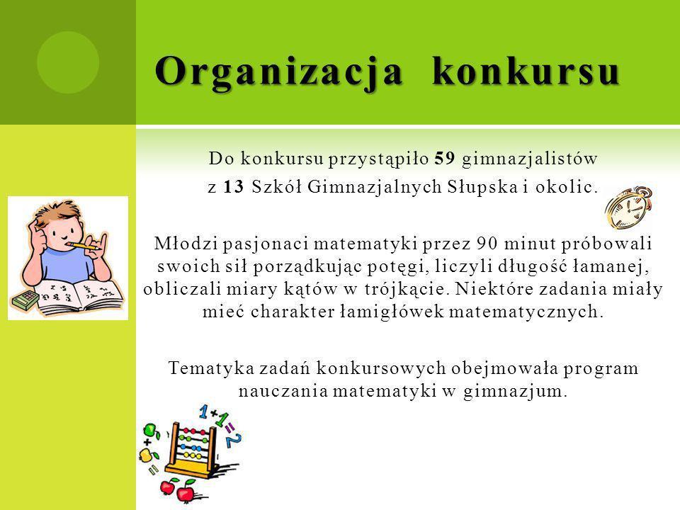 Do konkursu przystąpiło 59 gimnazjalistów z 13 Szkół Gimnazjalnych Słupska i okolic. Młodzi pasjonaci matematyki przez 90 minut próbowali swoich sił p