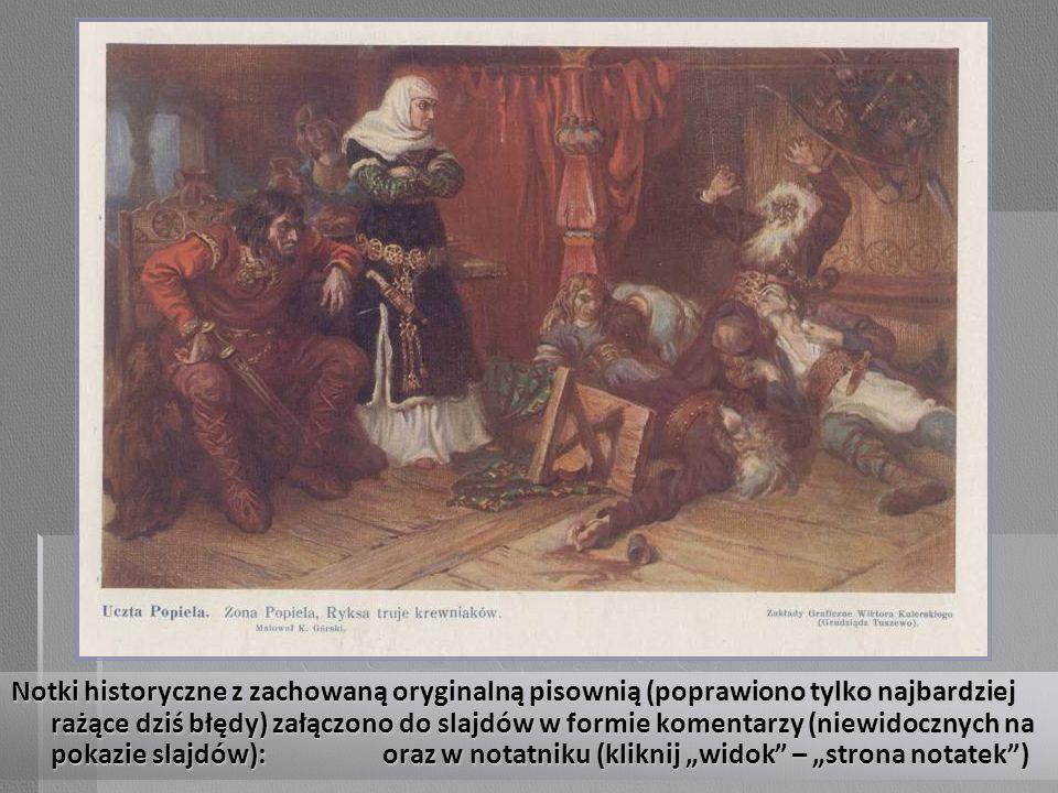 Początek notki historycznej: MIESZKO II.i BEZPRYM.