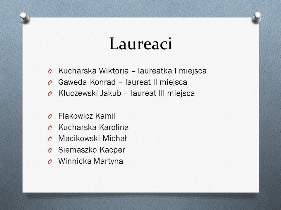 Laureaci O Kucharska Wiktoria – laureatka I miejsca O Gawęda Konrad – laureat II miejsca O Kluczewski Jakub – laureat III miejsca O Flakowicz Kamil O