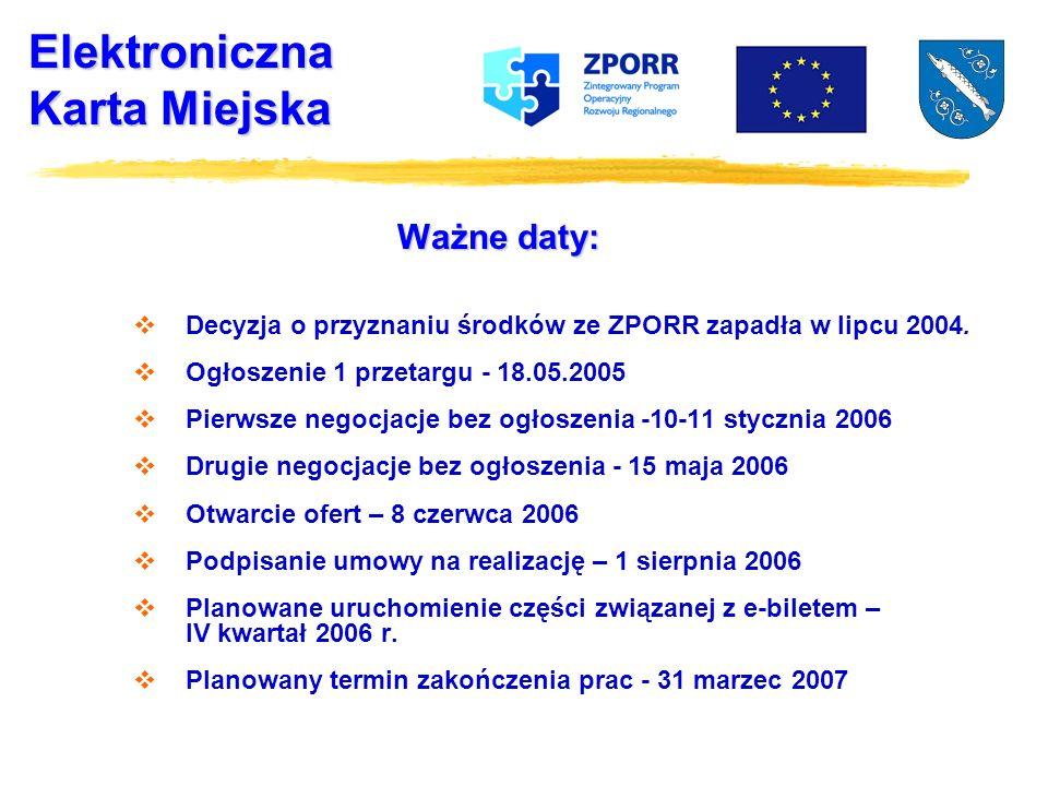 Elektroniczna Karta Miejska Ważne daty: Decyzja o przyznaniu środków ze ZPORR zapadła w lipcu 2004.