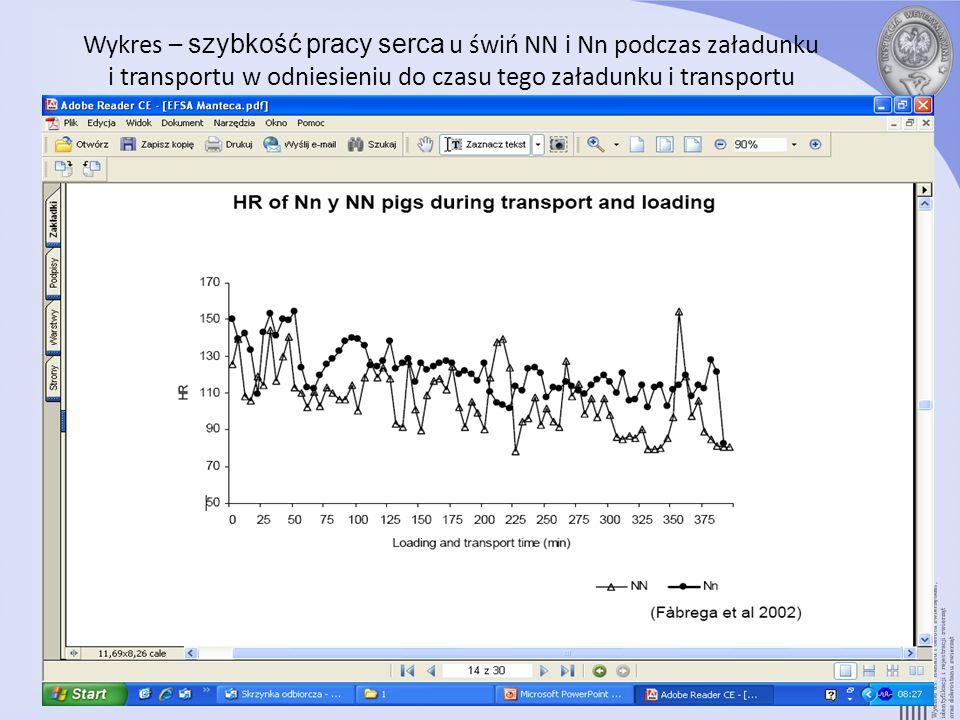 Wykres – szybkość pracy serca u świń NN i Nn podczas załadunku i transportu w odniesieniu do czasu tego załadunku i transportu 14. slajd oryginalnej p