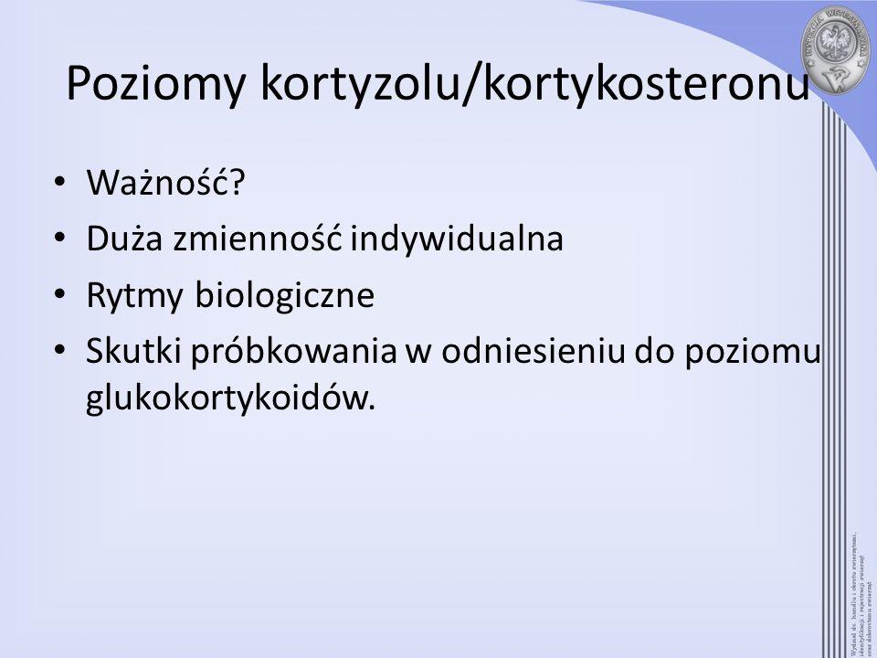Poziomy kortyzolu/kortykosteronu Ważność? Duża zmienność indywidualna Rytmy biologiczne Skutki próbkowania w odniesieniu do poziomu glukokortykoidów.