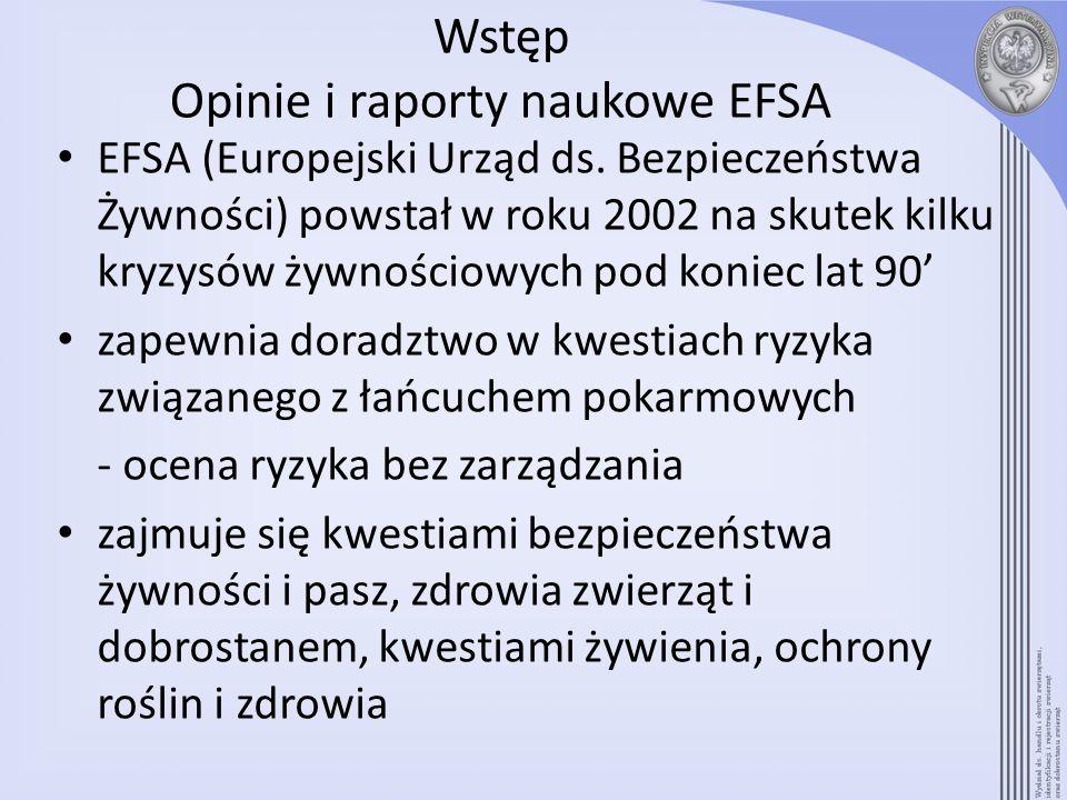 Wstęp Opinie i raporty naukowe EFSA EFSA (Europejski Urząd ds. Bezpieczeństwa Żywności) powstał w roku 2002 na skutek kilku kryzysów żywnościowych pod