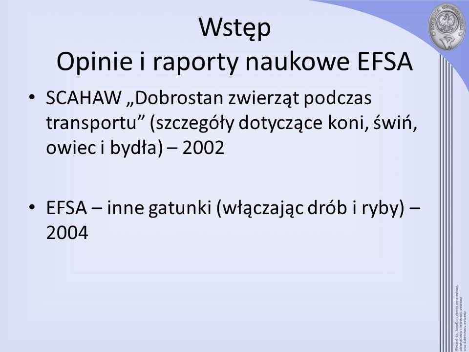 Wstęp Opinie i raporty naukowe EFSA SCAHAW Dobrostan zwierząt podczas transportu (szczegóły dotyczące koni, świń, owiec i bydła) – 2002 EFSA – inne ga