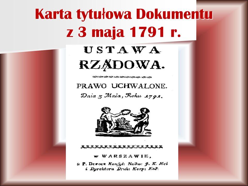 Karta tytu ł owa Dokumentu z 3 maja 1791 r.