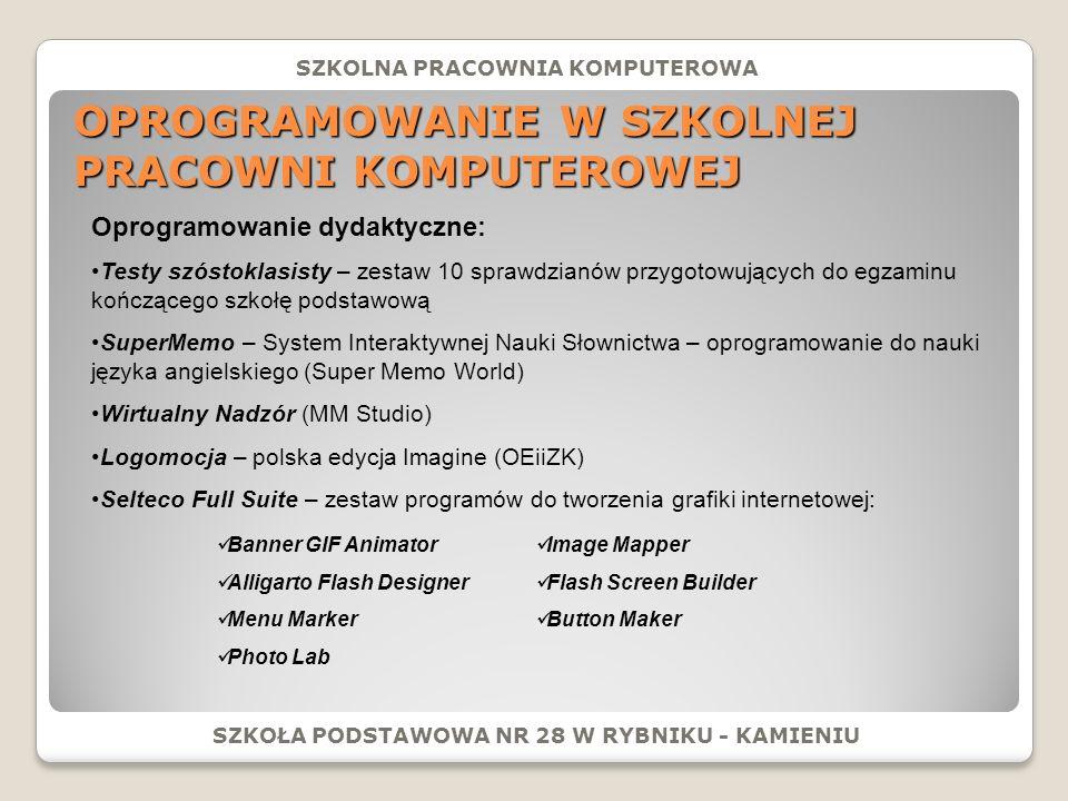 ZAJĘCIA POZALEKCYJNE: SZKOŁA PODSTAWOWA NR 28 W RYBNIKU - KAMIENIU SZKOLNA PRACOWNIA KOMPUTEROWA Innowacja pedagogiczna z informatyki Zabawa w programowanie: Uczniowie klas czwartych w szkolnej pracowni komputerowej na zajęciach innowacji pedagogicznej Na zajęciach innowacji uczniowie pracują w środowisku Logomocji (polska edycja Imagine).