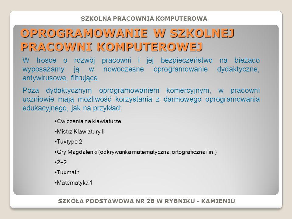 ZAJĘCIA POZALEKCYJNE: SZKOŁA PODSTAWOWA NR 28 W RYBNIKU - KAMIENIU Efektem zajęć koła informatycznego jest witryna internetowa o adresie: www.rswp_sp28rybnik.eu.interia.pl www.rswp_sp28rybnik.eu.interia.pl SZKOLNA PRACOWNIA KOMPUTEROWA Kółko informatyczne dla uczniów klas starszych: Screen strony głównej witryny internetowej wykonanej podczas zajęć koła informatycznego dla uczniów starszych