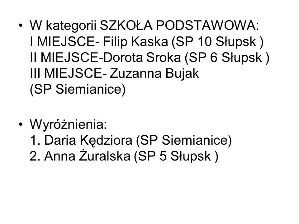 W kategorii SZKOŁA PODSTAWOWA: I MIEJSCE- Filip Kaska (SP 10 Słupsk ) II MIEJSCE-Dorota Sroka (SP 6 Słupsk ) III MIEJSCE- Zuzanna Bujak (SP Siemianice