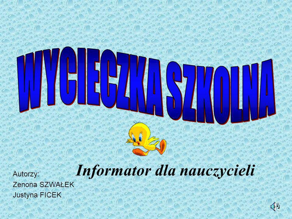 Informator dla nauczycieli Autorzy: Zenona SZWAŁEK Justyna FICEK