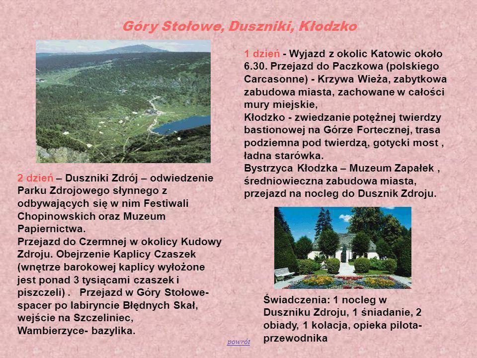 Góry Stołowe, Duszniki, Kłodzko 2 dzień – Duszniki Zdrój – odwiedzenie Parku Zdrojowego słynnego z odbywających się w nim Festiwali Chopinowskich oraz