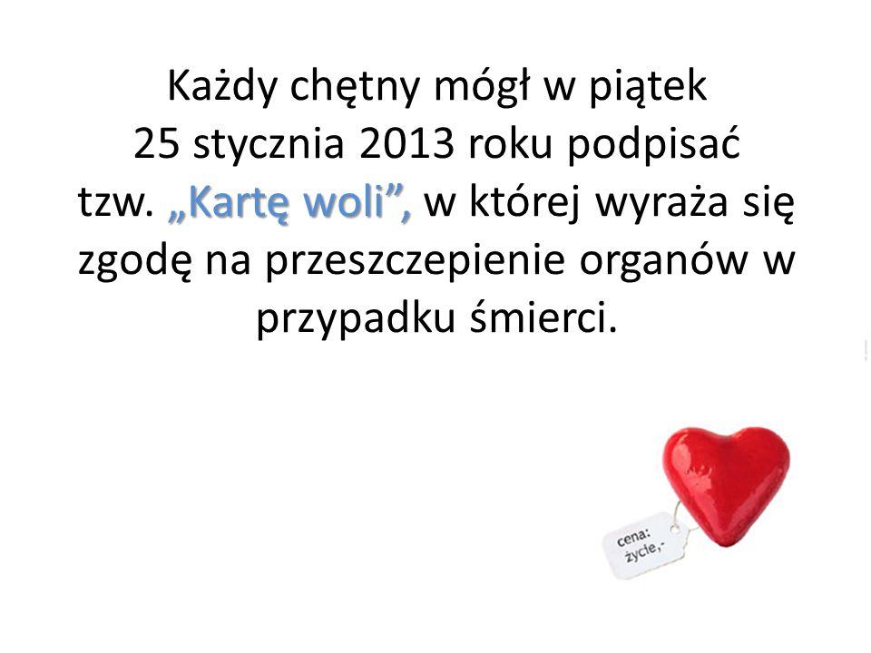 Kartę woli, Każdy chętny mógł w piątek 25 stycznia 2013 roku podpisać tzw. Kartę woli, w której wyraża się zgodę na przeszczepienie organów w przypadk
