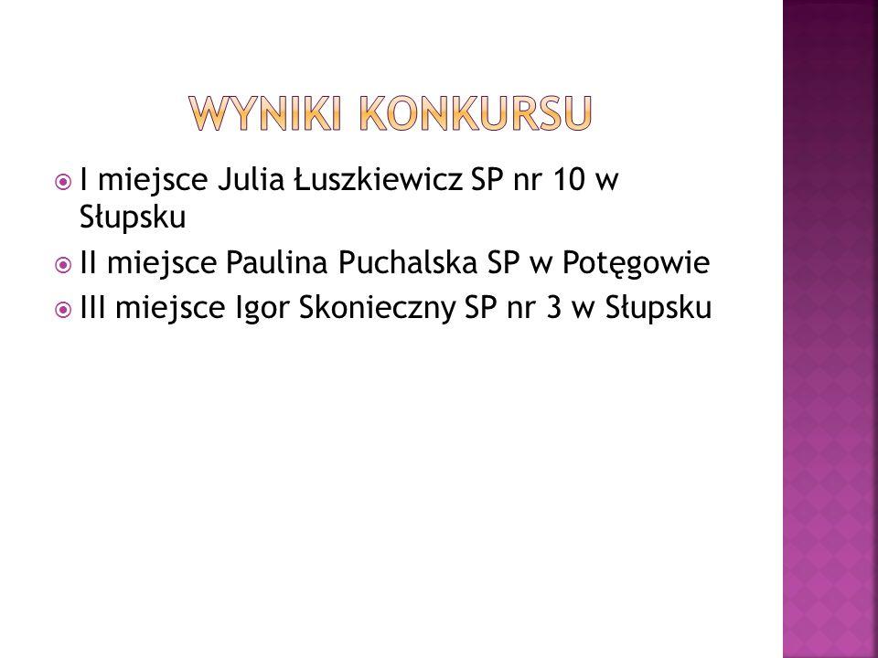 I miejsce Julia Łuszkiewicz SP nr 10 w Słupsku II miejsce Paulina Puchalska SP w Potęgowie III miejsce Igor Skonieczny SP nr 3 w Słupsku