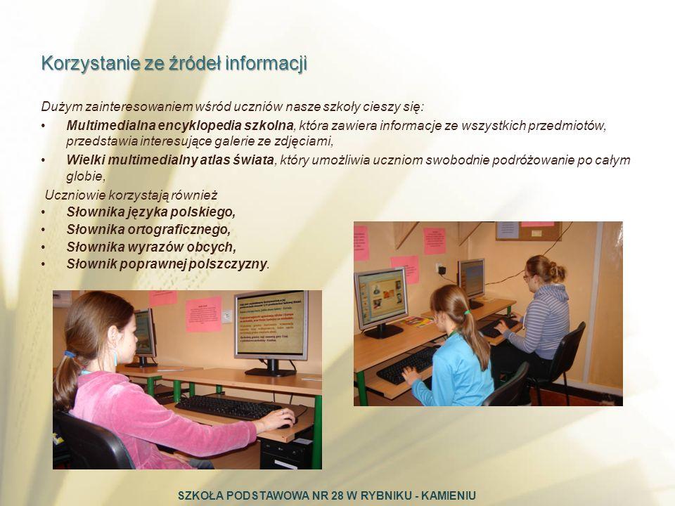 Dużym zainteresowaniem wśród uczniów nasze szkoły cieszy się: Multimedialna encyklopedia szkolna, która zawiera informacje ze wszystkich przedmiotów,