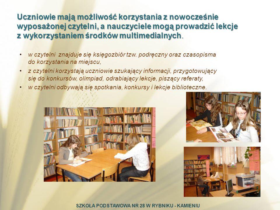 w czytelni znajduje się księgozbiór tzw. podręczny oraz czasopisma do korzystania na miejscu, z czytelni korzystają uczniowie szukający informacji, pr
