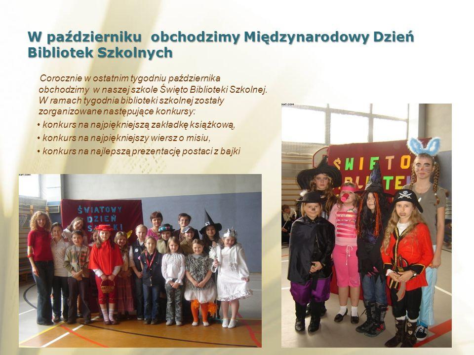 Corocznie w ostatnim tygodniu października obchodzimy w naszej szkole Święto Biblioteki Szkolnej. W ramach tygodnia biblioteki szkolnej zostały zorgan