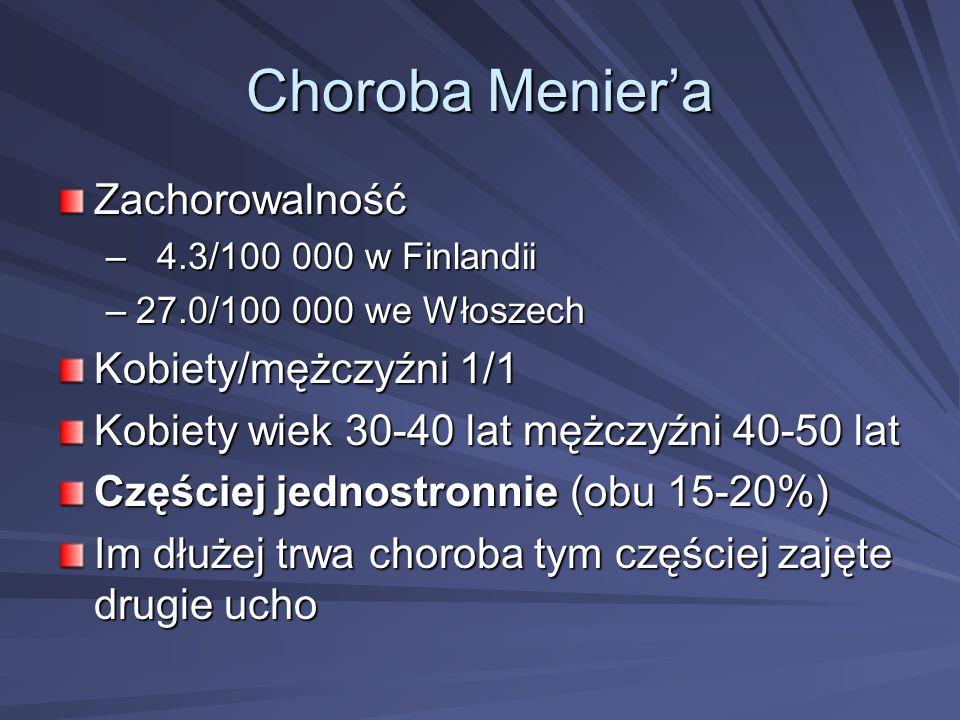 Choroba Meniera Zachorowalność – 4.3/100 000 w Finlandii –27.0/100 000 we Włoszech Kobiety/mężczyźni 1/1 Kobiety wiek 30-40 lat mężczyźni 40-50 lat Cz