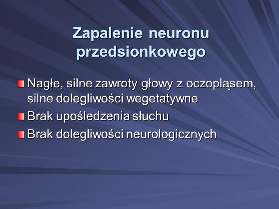Zapalenie neuronu przedsionkowego Nagłe, silne zawroty głowy z oczopląsem, silne dolegliwości wegetatywne Brak upośledzenia słuchu Brak dolegliwości n