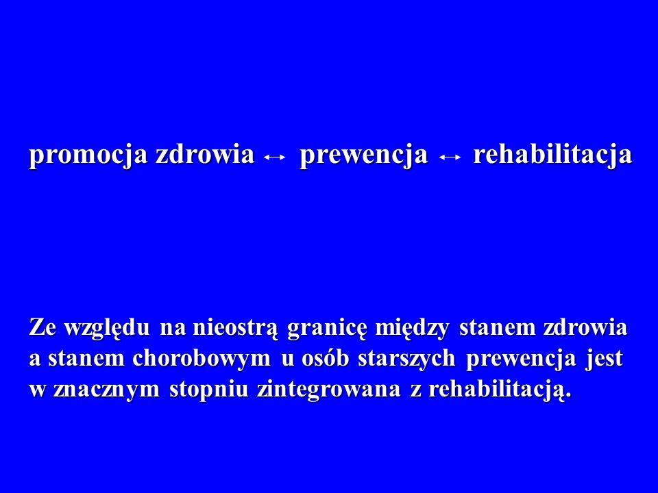 Ze względu na nieostrą granicę między stanem zdrowia a stanem chorobowym u osób starszych prewencja jest w znacznym stopniu zintegrowana z rehabilitac