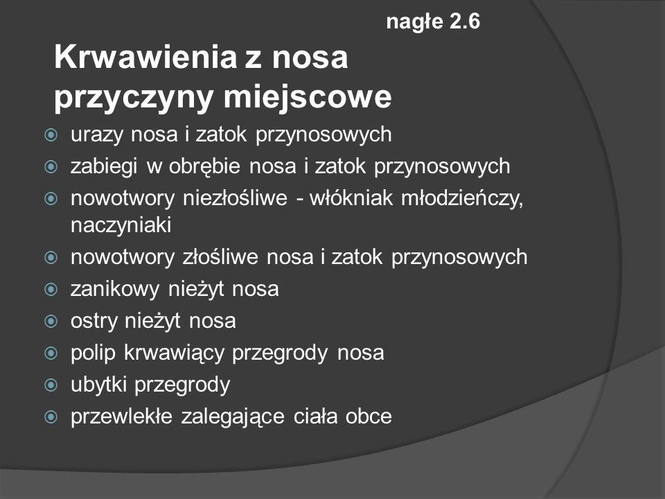 nagłe 2.6 Krwawienia z nosa przyczyny miejscowe urazy nosa i zatok przynosowych zabiegi w obrębie nosa i zatok przynosowych nowotwory niezłośliwe - włókniak młodzieńczy, naczyniaki nowotwory złośliwe nosa i zatok przynosowych zanikowy nieżyt nosa ostry nieżyt nosa polip krwawiący przegrody nosa ubytki przegrody przewlekłe zalegające ciała obce