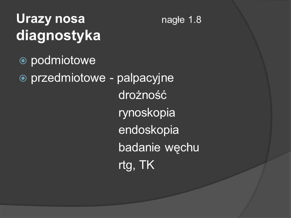 Urazy nosa nagłe 1.8 diagnostyka podmiotowe przedmiotowe - palpacyjne drożność rynoskopia endoskopia badanie węchu rtg, TK