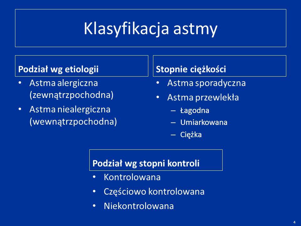 Klasyfikacja astmy Podział wg etiologii Astma alergiczna (zewnątrzpochodna) Astma niealergiczna (wewnątrzpochodna) Stopnie ciężkości Astma sporadyczna Astma przewlekła – Łagodna – Umiarkowana – Ciężka Podział wg stopni kontroli Kontrolowana Częściowo kontrolowana Niekontrolowana 4