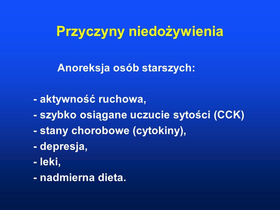 Przyczyny niedożywienia Anoreksja osób starszych: - aktywność ruchowa, - szybko osiągane uczucie sytości (CCK) - stany chorobowe (cytokiny), - depresj