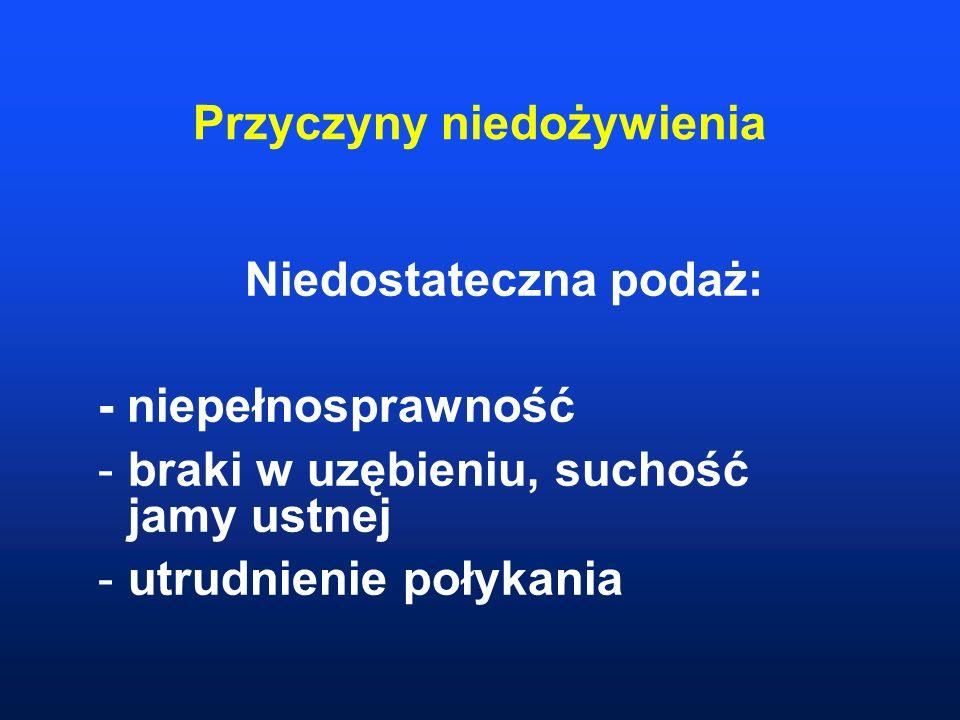 Przyczyny niedożywienia Niedostateczna podaż: - niepełnosprawność -braki w uzębieniu, suchość jamy ustnej -utrudnienie połykania
