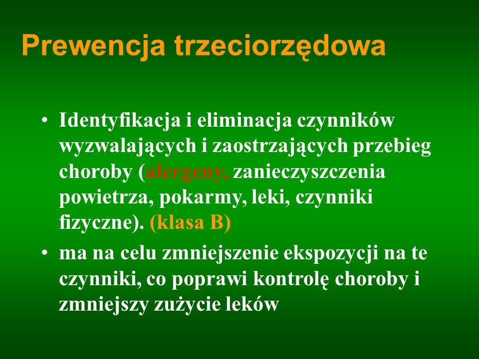 Prewencja trzeciorzędowa Identyfikacja i eliminacja czynników wyzwalających i zaostrzających przebieg choroby (alergeny, zanieczyszczenia powietrza, p
