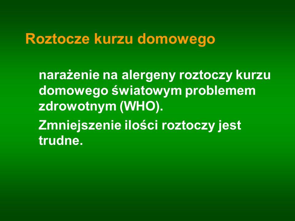 Roztocze kurzu domowego narażenie na alergeny roztoczy kurzu domowego światowym problemem zdrowotnym (WHO). Zmniejszenie ilości roztoczy jest trudne.