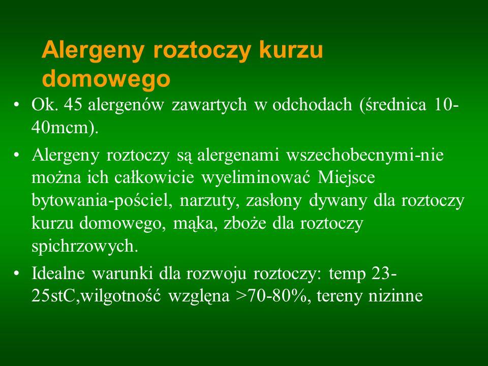 Ok. 45 alergenów zawartych w odchodach (średnica 10- 40mcm). Alergeny roztoczy są alergenami wszechobecnymi-nie można ich całkowicie wyeliminować Miej