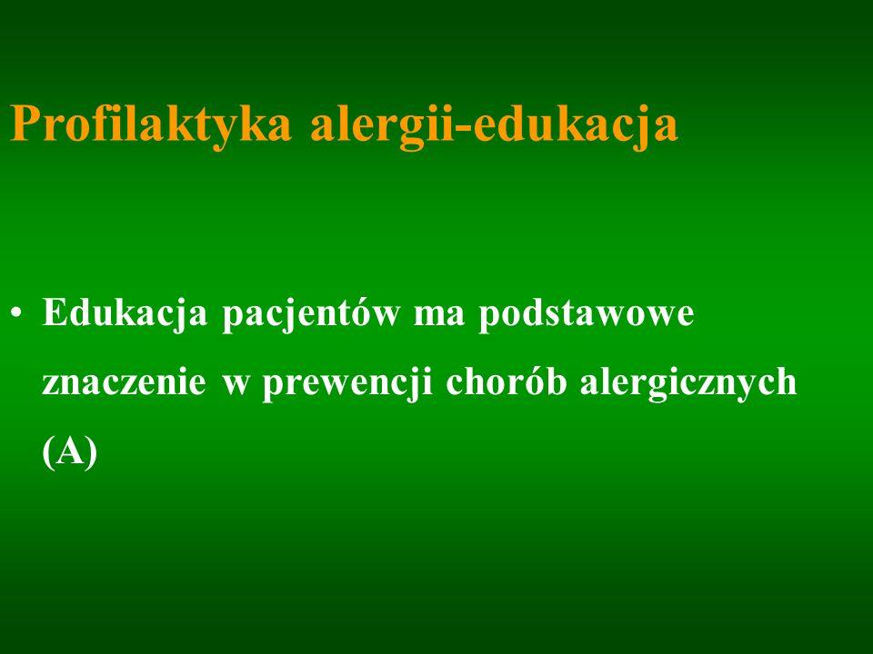 Profilaktyka alergii-edukacja Edukacja pacjentów ma podstawowe znaczenie w prewencji chorób alergicznych (A)