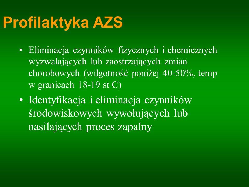 Profilaktyka AZS Eliminacja czynników fizycznych i chemicznych wyzwalających lub zaostrzających zmian chorobowych (wilgotność poniżej 40-50%, temp w g