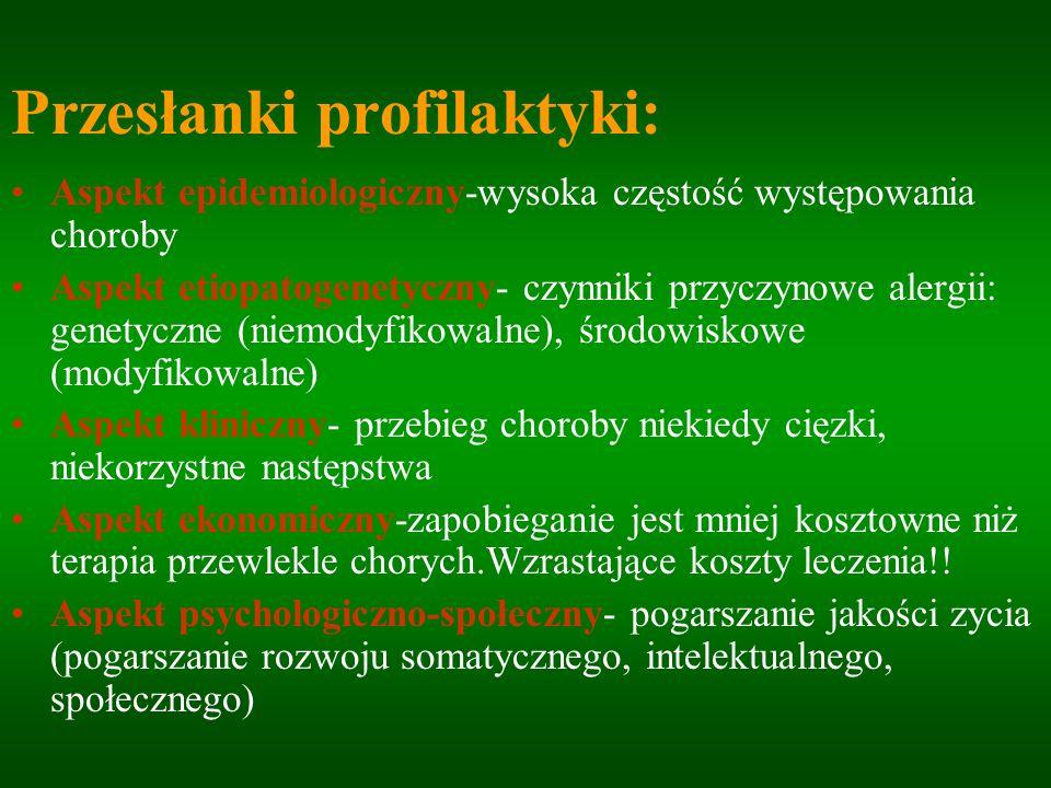 Rodzaje profilaktyki Profilaktyka pierwotna-zapobieganie alergizacji (np.