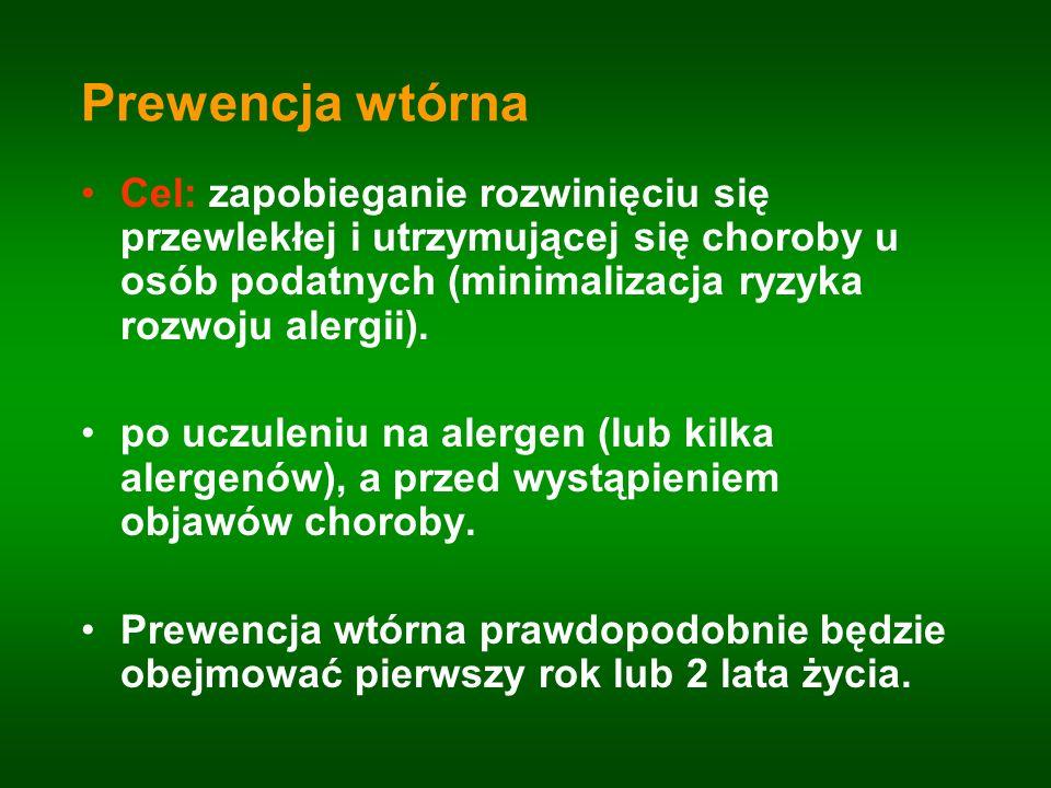Prewencja wtórna Cel: zapobieganie rozwinięciu się przewlekłej i utrzymującej się choroby u osób podatnych (minimalizacja ryzyka rozwoju alergii). po